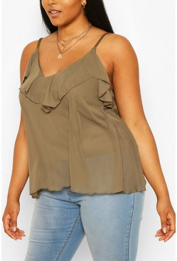 Khaki Plus  Ruffle Detail Swing Cami