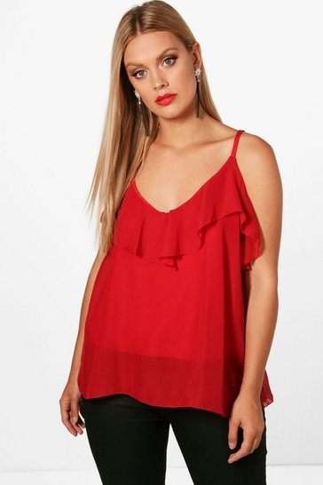 Red Plus  Ruffle Detail Swing Cami