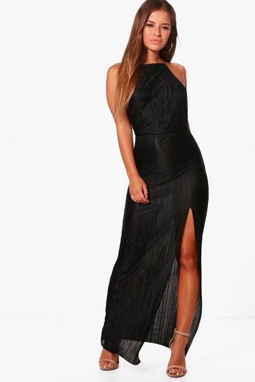 Black Petite  Pleated Thigh Split Maxi Dress