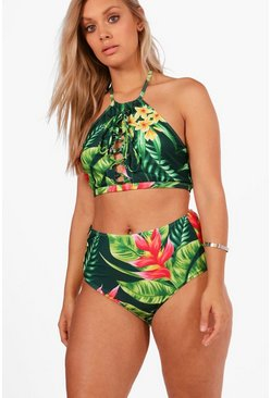 Multi Plus  Tropical Print Lace Up High Waist Bikini