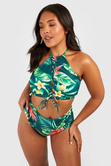 Multi Plus  Tropical Print Lace Up High Waist Bikini