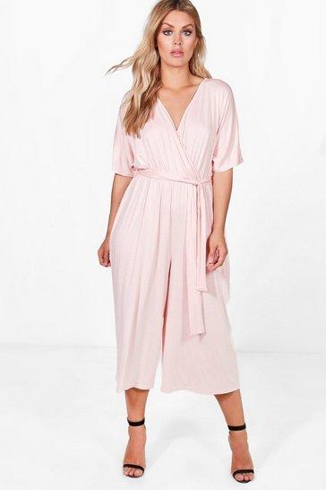 Blush pink Plus  Jersey Kimono Sleeve Wrap Jumpsuit