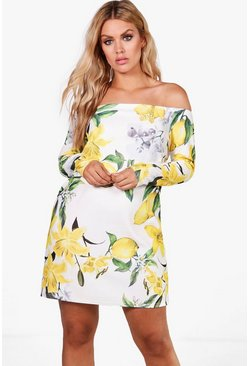 Multi Plus Jemma Lemon Print Off The Shoulder Dress