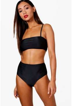 Black Petite  Bandeau Strappy High Waisted Bikini