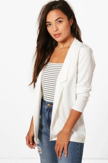 Ivory white Petite Notch Detail Oversized Blazer