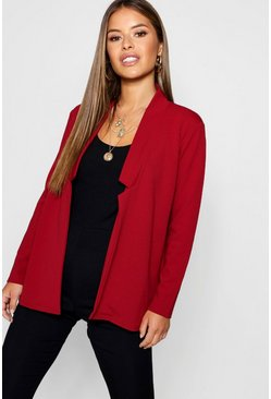Wine Petite Notch Detail Oversized Blazer