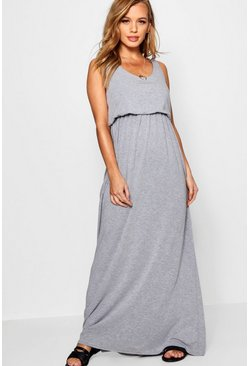 Grey marl grey Petite  Bagged Over Racer Back Maxi Dress