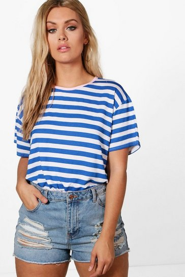 Multi Plus Emma Contrast Trim Stripe T-shirt