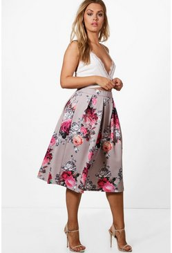 Multi Plus  Floral Print Scuba Midi Skirt