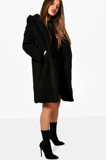 Black Petite Oversized Hooded Teddy Coat