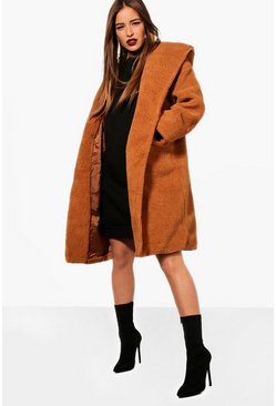 Camel beige Petite Oversized Hooded Teddy Coat