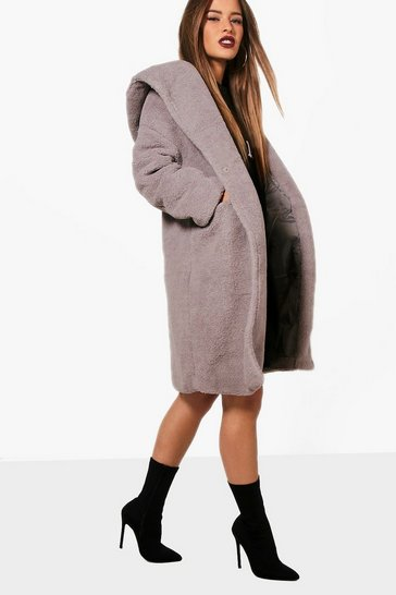 Grey Petite Oversized Hooded Teddy Coat