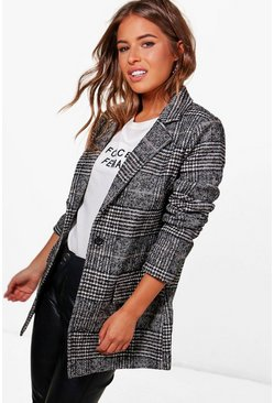 Black Petite  Check Coat
