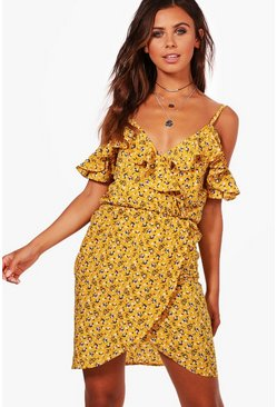 Mustard yellow Petite  Ruffle Floral Wrap Tea Dress