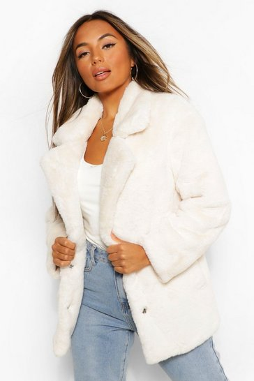 Cream white Petite Oversized Collar Luxe Faux Fur Coat