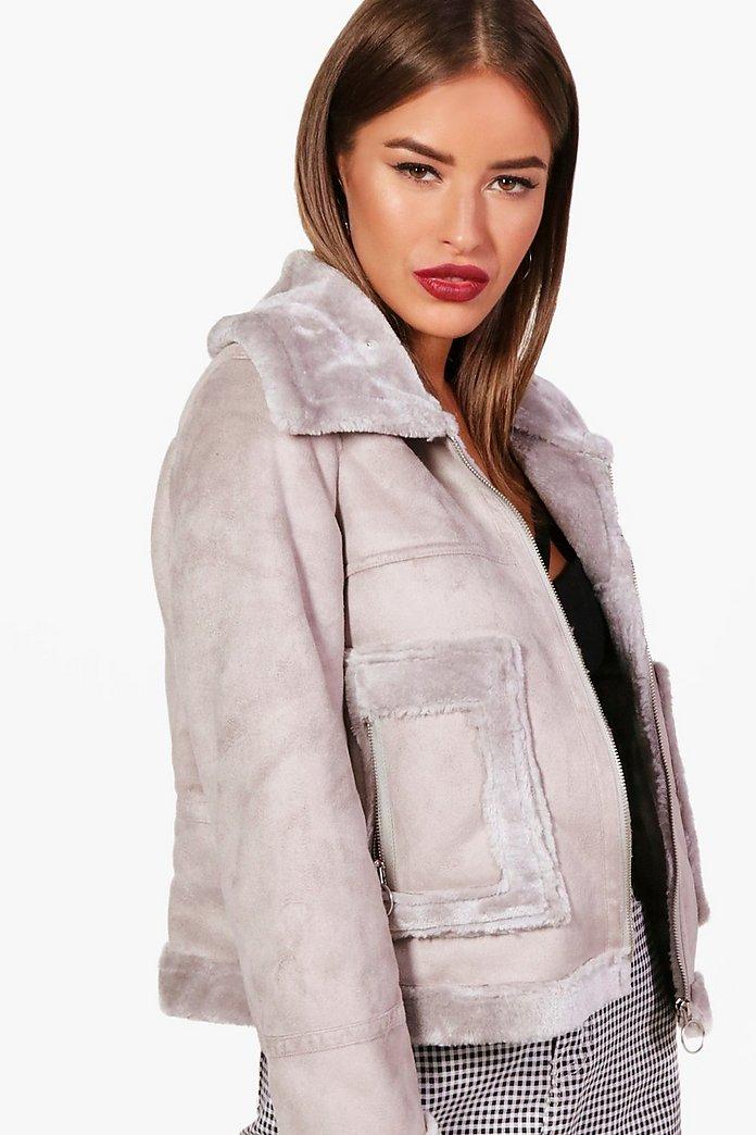 Manteau court avec doublure en fourrure Petite | boohoo
