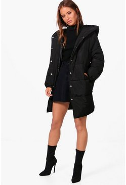 Black Petite Hooded Dip Back Padded Coat