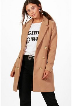 Camel beige Petite  Double Breasted Military Duster Coat
