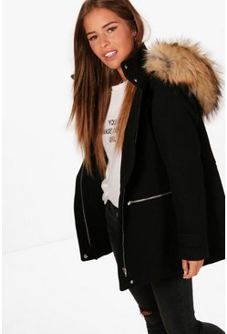 Black Petite Wool Fitted Parka