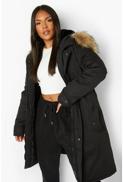 Black Plus  Faux Fur Trim Parka