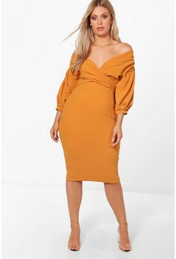 Amber orange Plus Off The Shoulder Wrap Midi Dress