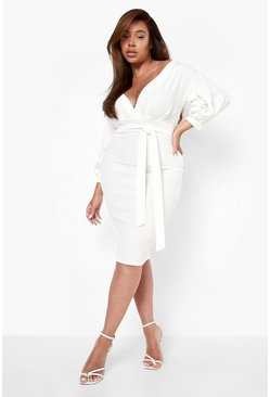 Ivory white Plus Off The Shoulder Wrap Midi Dress