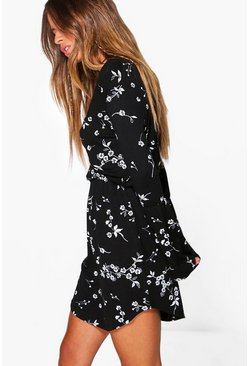 Multi Petite  Printed Flute Sleeve Wrap Dress