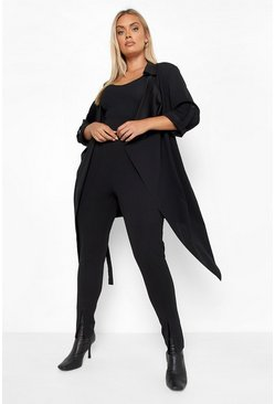 Black Plus Daisy Belted Waterfall Duster Coat