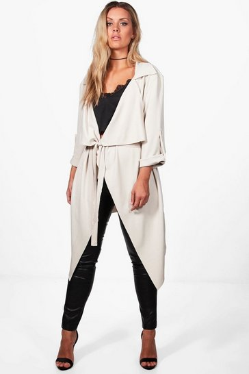 Stone beige Plus Daisy Belted Waterfall Duster Coat