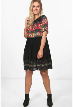 Multi Plus Retro Print Midi Dress