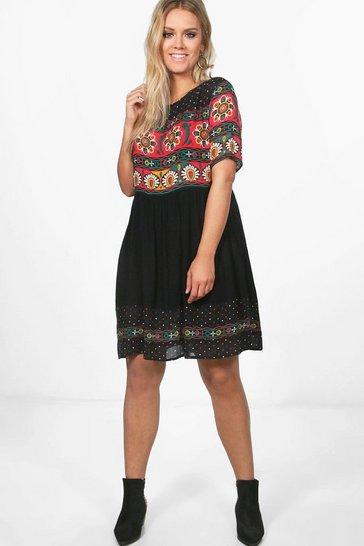 Multi Plus Retro Print Midi Dress