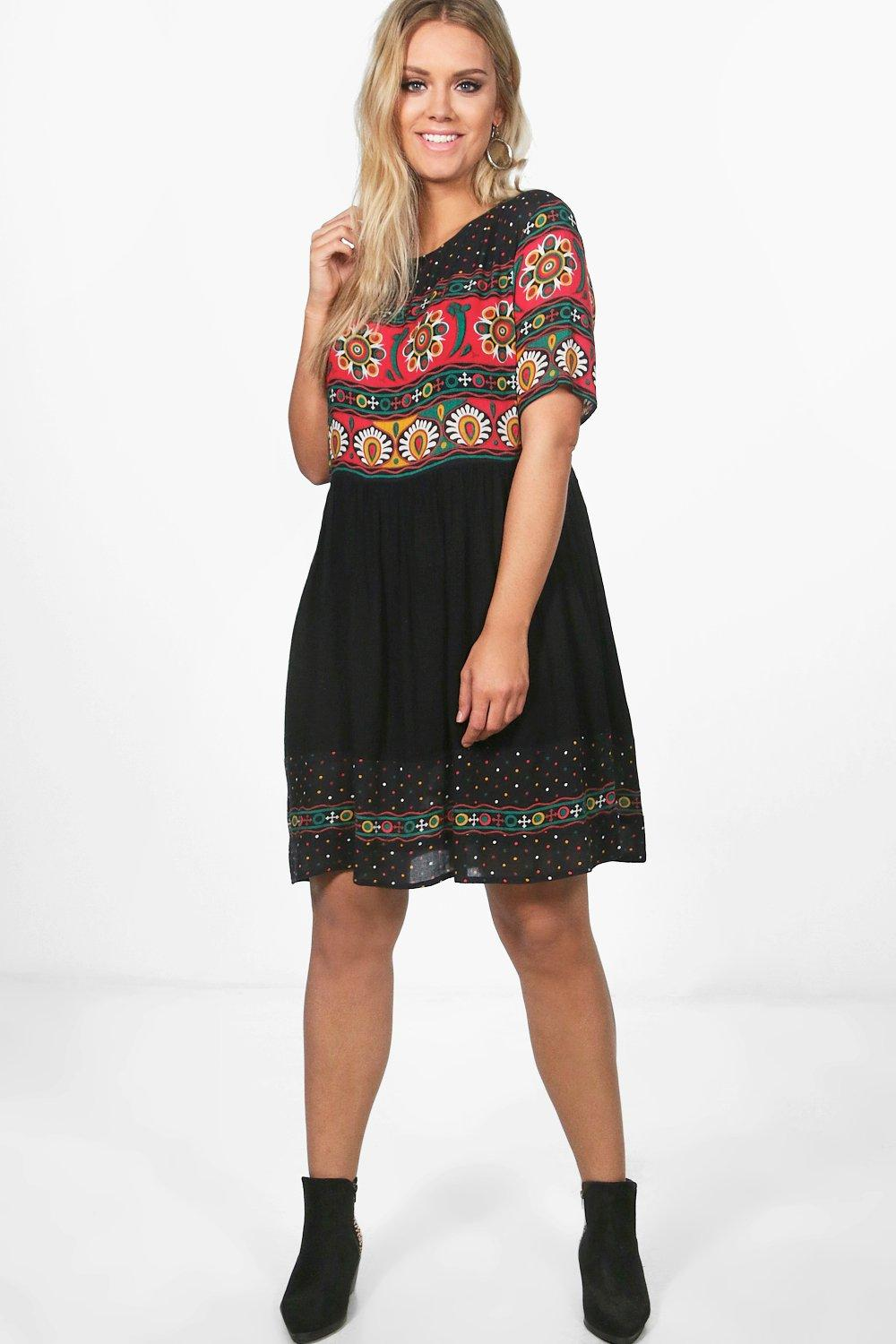 Plus Retro Print Midi Dress 8