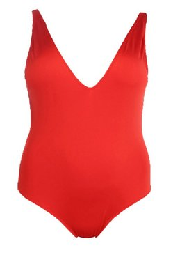Red Plus  Basic Plunge Front Swimsuit