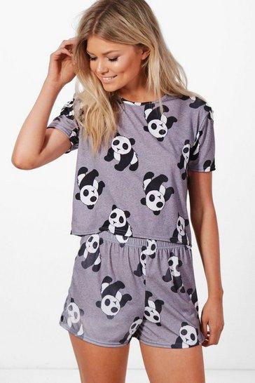Multi Petite  Panda Logo Pyjama Set