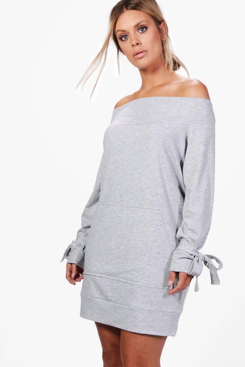 Plus Emily Schulterfreies Sweatshirt-Kleid mit gebundenen Ärmeln