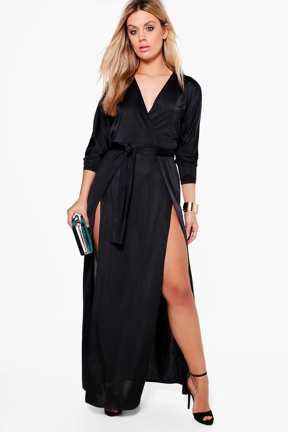 Plus Slinky Plunge Split Maxi Dress 6