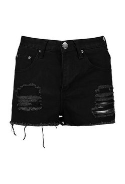 Black Petite  High Rise Distressed Denim Short