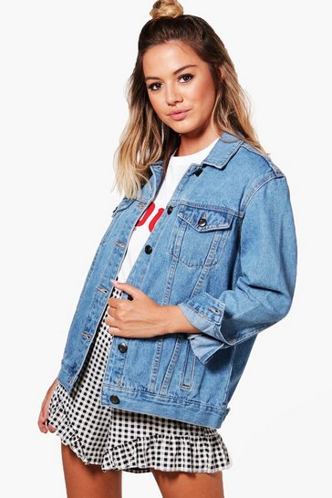 Blue Petite  Boyfriend Fit Denim Jacket