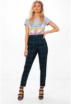 Multi Petite High Waisted Check Tapered Pants
