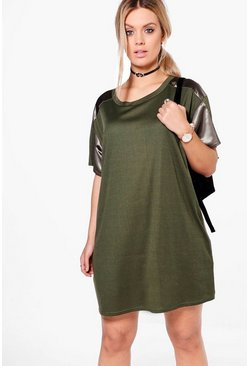 Khaki Plus Kelly Satin Trim Ribbed T-shirt Dress