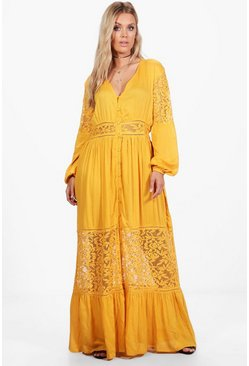 Ochre yellow Plus Boho Lace Insert Maxi Dress