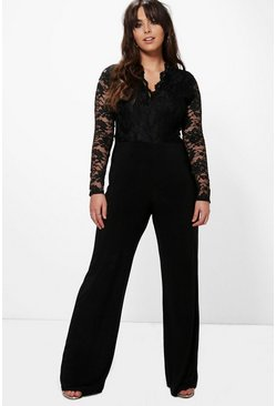 Black Plus  Long Sleeve Lace Top Slinky Jumpsuit