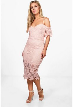 Blush pink Plus  Corded Lace Midi Dress