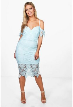 Sky blue Plus  Corded Lace Midi Dress