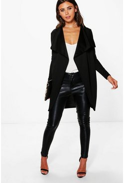 Black Petite  Ponte Wrap Front Duster Jacket