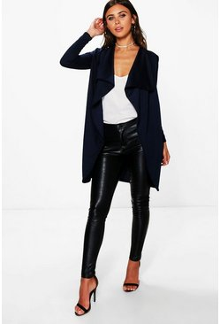 Navy Petite  Ponte Wrap Front Duster Jacket