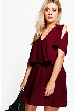 Black plum purple Plus  Ruffle Open Shoulder Dress