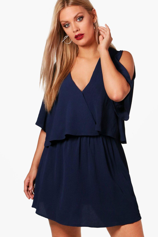 Plus Ruffle Open Shoulder Dress 8