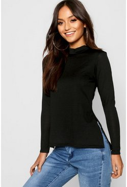 Black Petite  High Neck Soft Knit Side Split Tunic Top