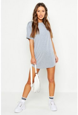 Grey marl grey Petite Curved Hem T-Shirt Dress